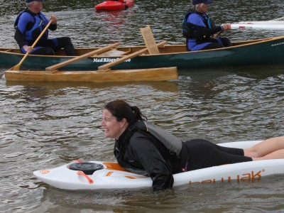 Bellyak, Canoe and SUP together in the water