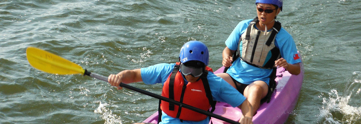Blind and vision impaired training in kayaks and rough water