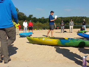 Adaptive kayaking lesson on the beach