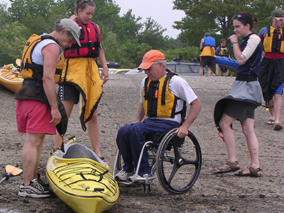 Transferring from wheelchair to kayak