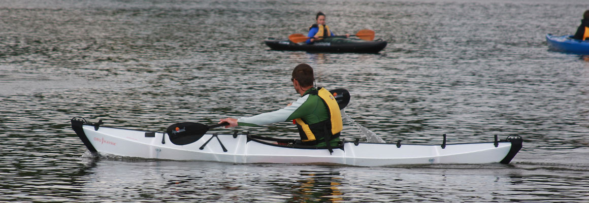 Foldable kayak on the water