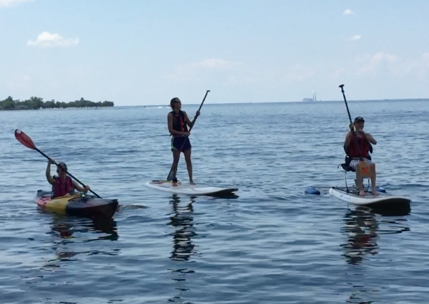 Three Paddlers on the water